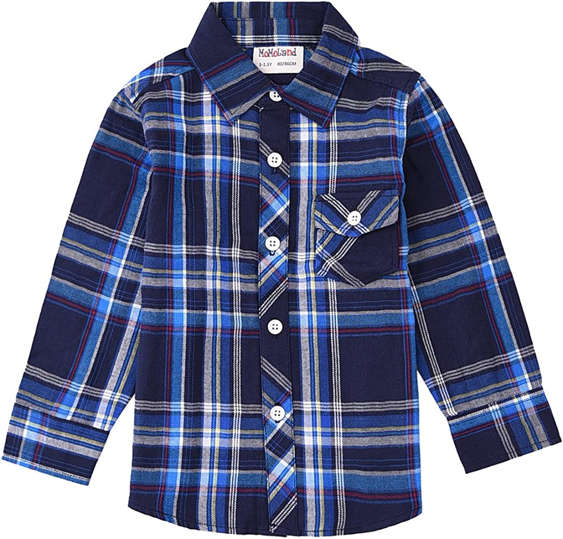MOMOLAND Toddler Boys Short Sleeve Woven Button Down Plaid Shirt Blue