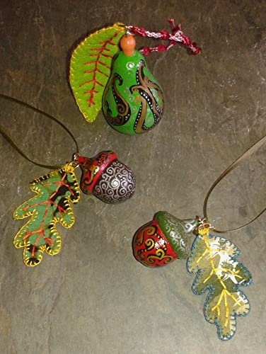Trio Of Hand Painted Wooden Acorn And A Pear Christmas Hanging