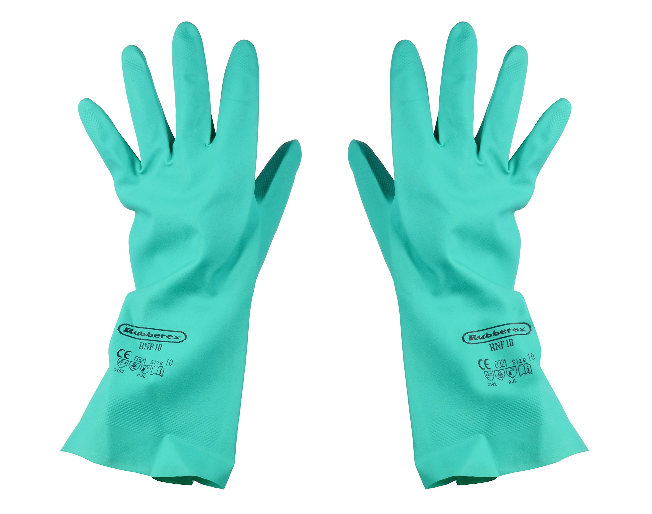 Nitrile Gloves, Cotton Flock lined, Solvent Resistant, 0.46 mil Thickness, Large, Green