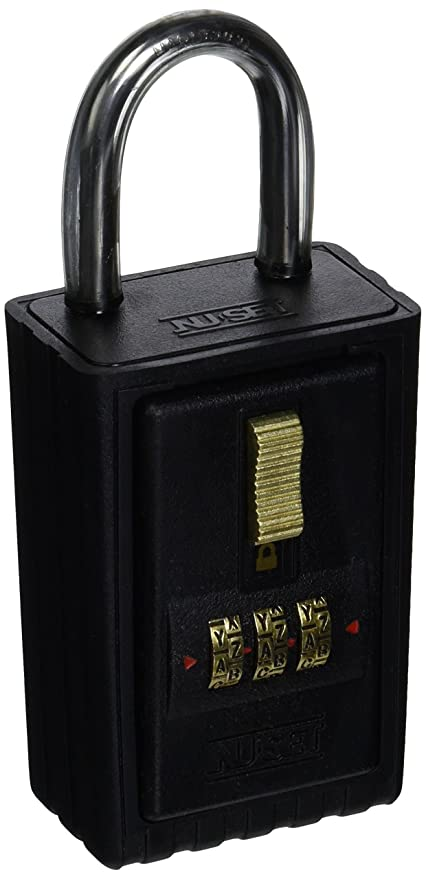 nu set 2034 3 3 letter combination lock box with keyed shackle and a