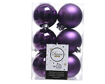 Christbaumkugeln Lila Kunststoff.12 Christbaumkugeln 60mm Violett Lila Opal Matt Kunststoff