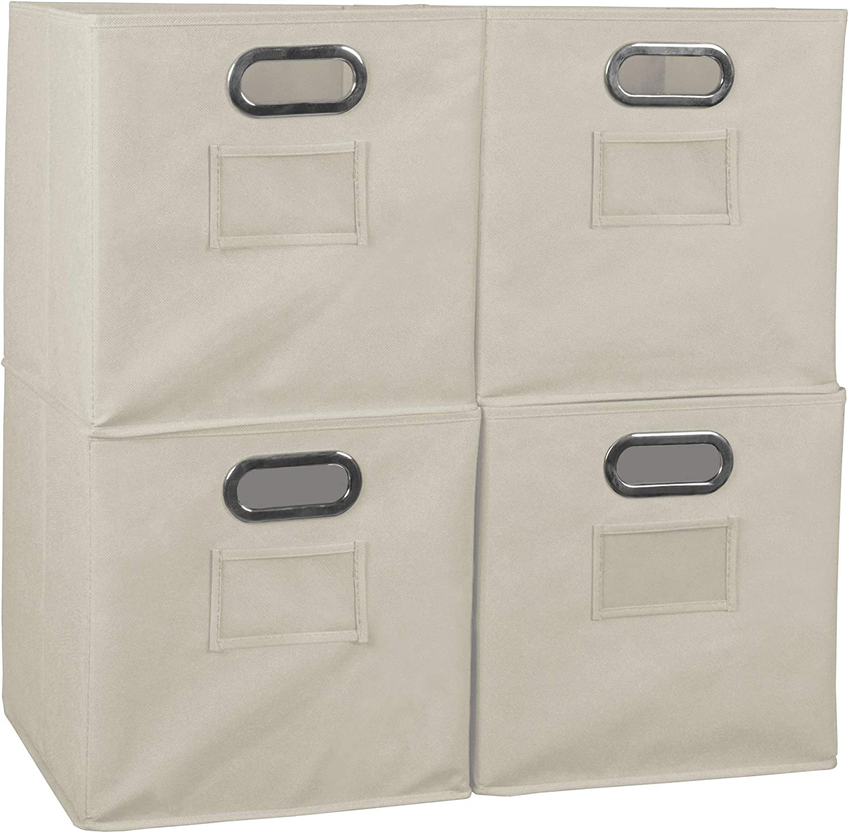 Niche Set of 4 Cubo Foldable Fabric Bins- Natural