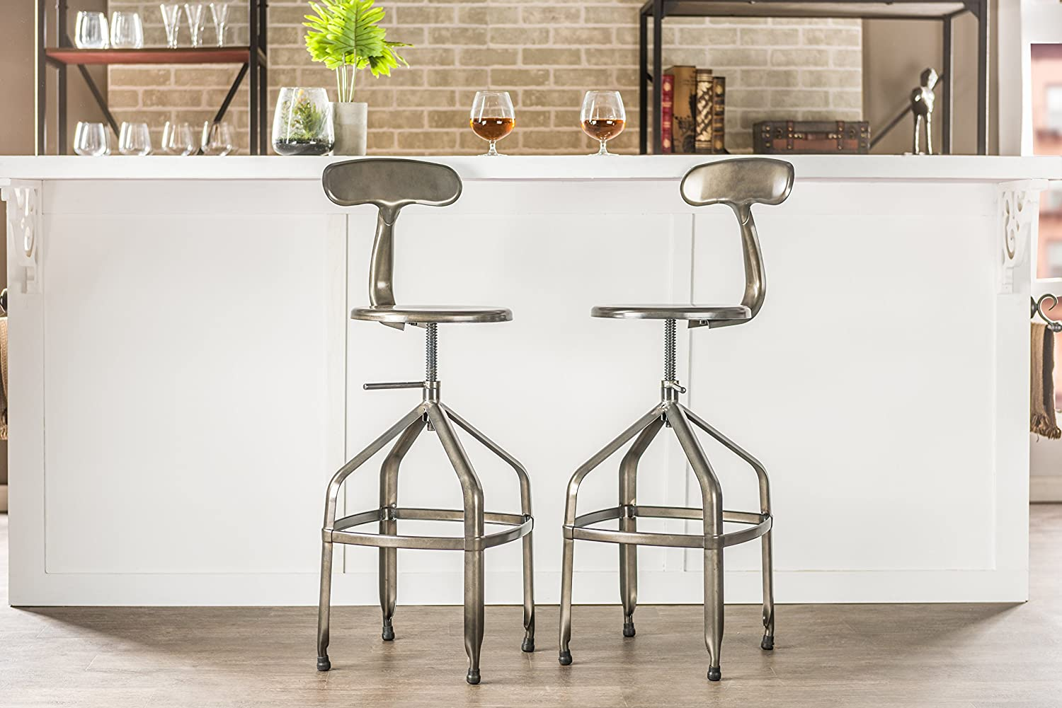 amazoncom baxton studio industrial bar stool with backrest gun metal kitchen u0026 dining