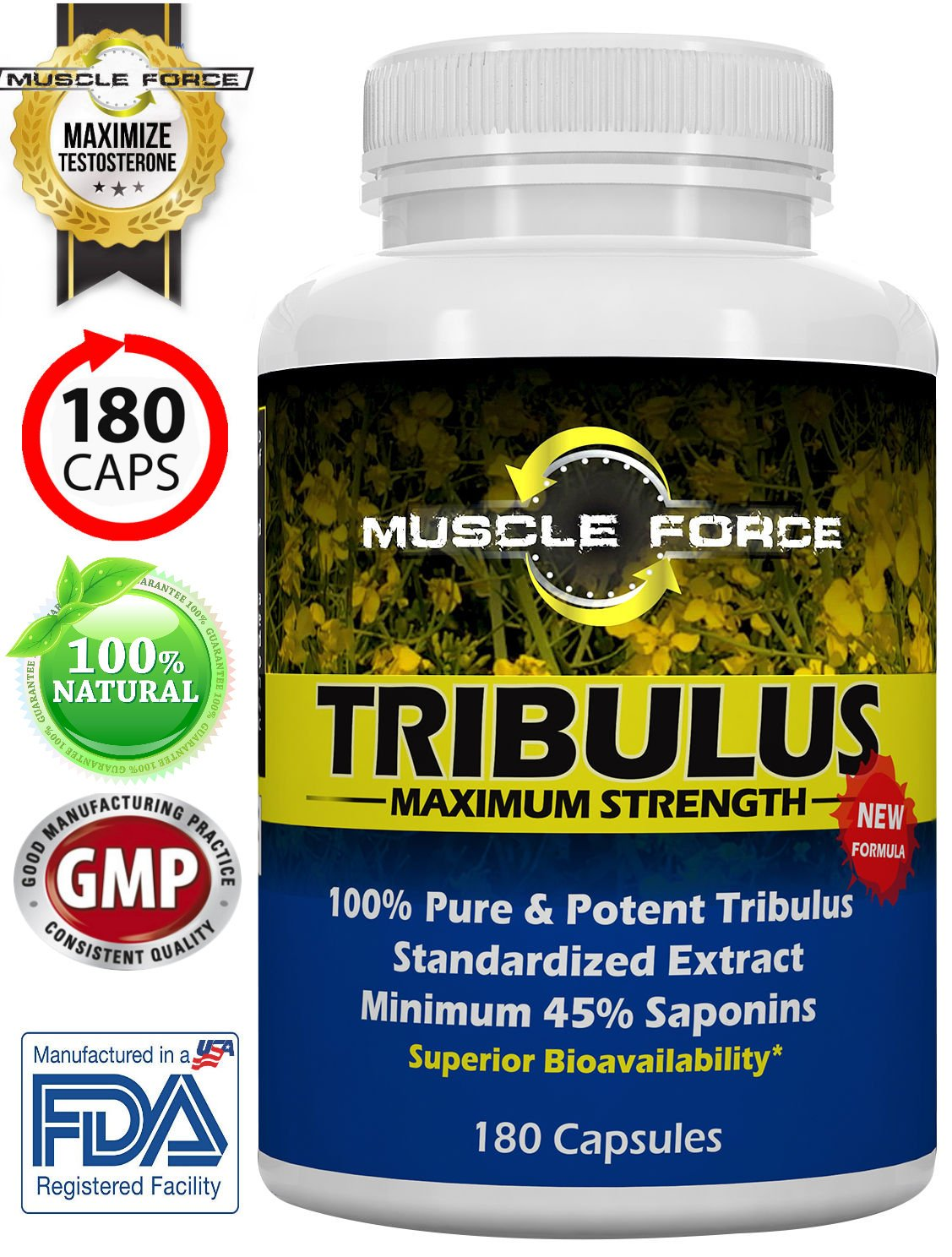 #1 Rated Muscle Force Tribulus Terrestris | 180 Capsules | 1500mg of Bulgarian Tribulus | 45% Saponins | NEW BIOAVAILABILITY FACTOR | 3 MTH SUPPLY | Ships Free