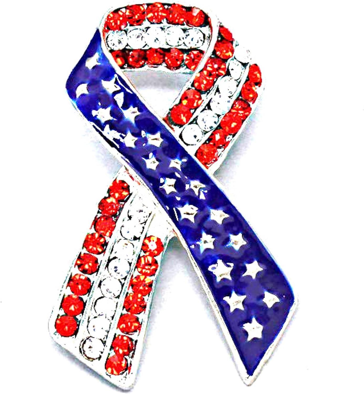 American Flag Patriotic Ribbon AZFJBR023-SRB-PAT Independence Day Brooch//pin