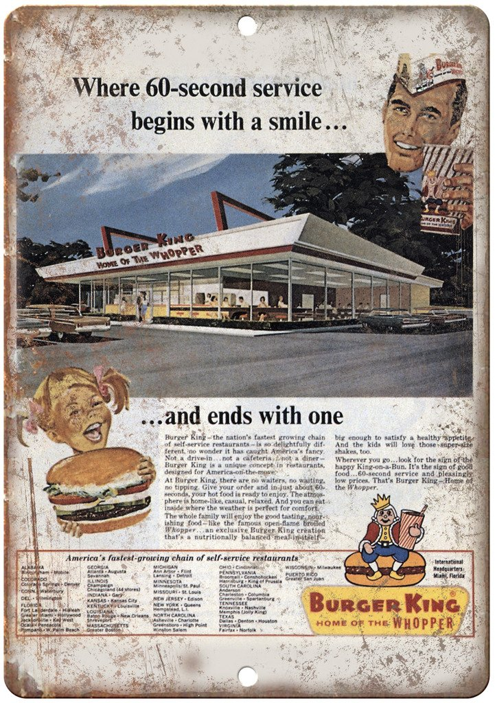 Amazon Com Burger King Home Of The Wopper Vintage Ad 10 X 7