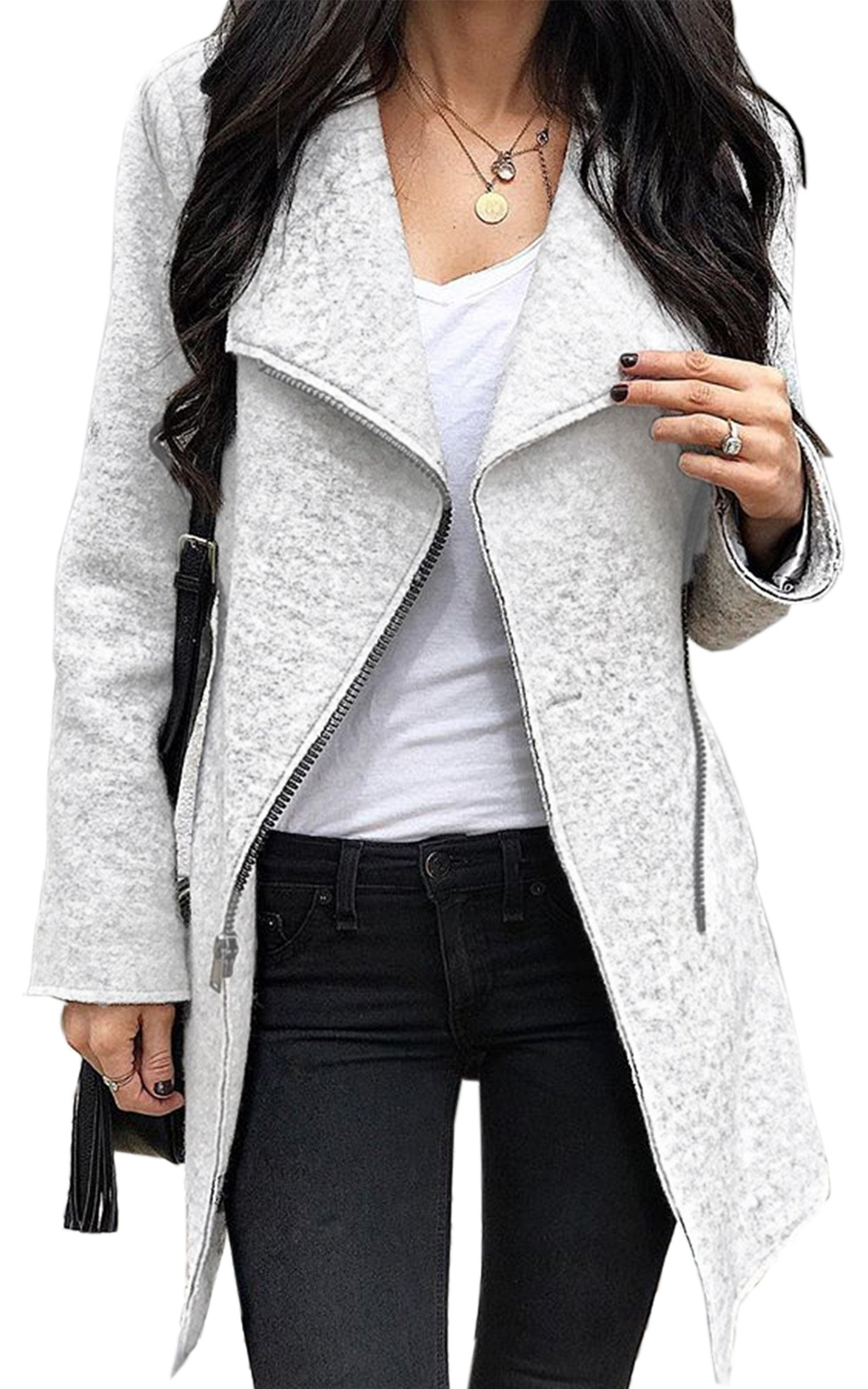 Angashion Women's Irregular Full-Zip Coat Lapel Outwear Casual Overcoats Long Sleeves Tops Grey L