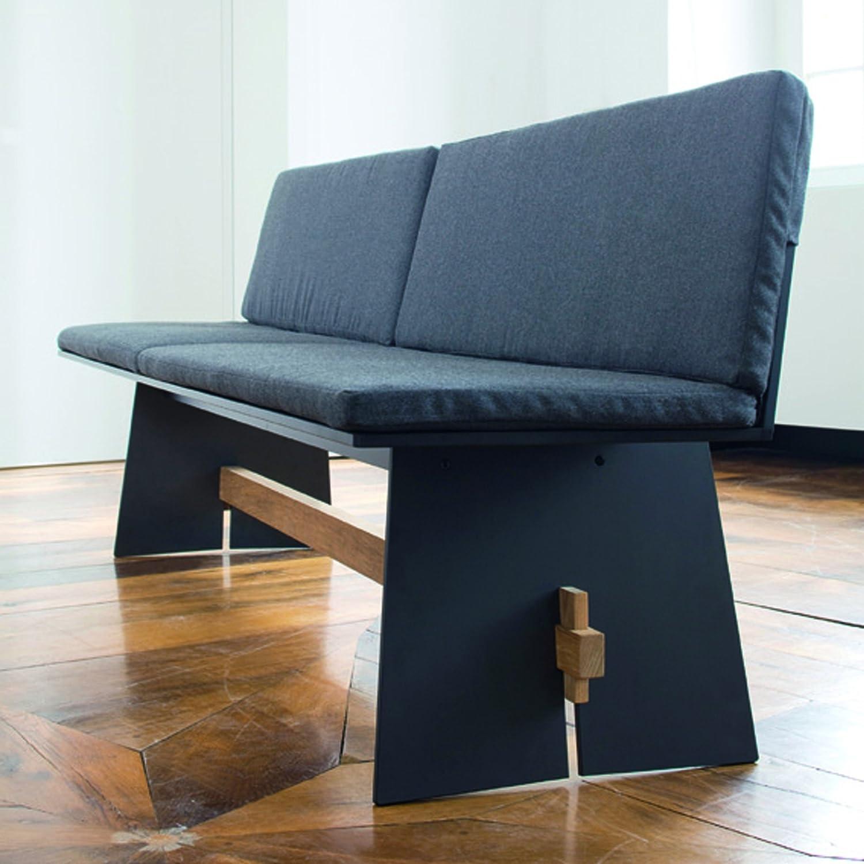 Tension Bank mit Rückenlehne, HPL-Kunststoff anthrazit 220 x 57 cm