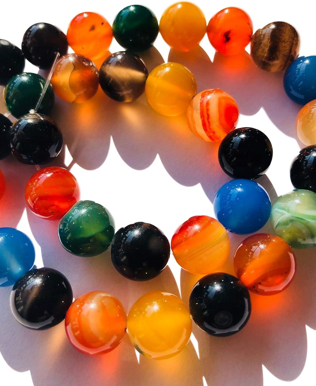 Imitación Paradise un Strang 12mm Grandes Perlas Ágata Piedra Collar de Perlas de ágata Perlas schmuckbasteln Bunter Ágata Cuentas de Piedras Preciosas Joyas Perlas
