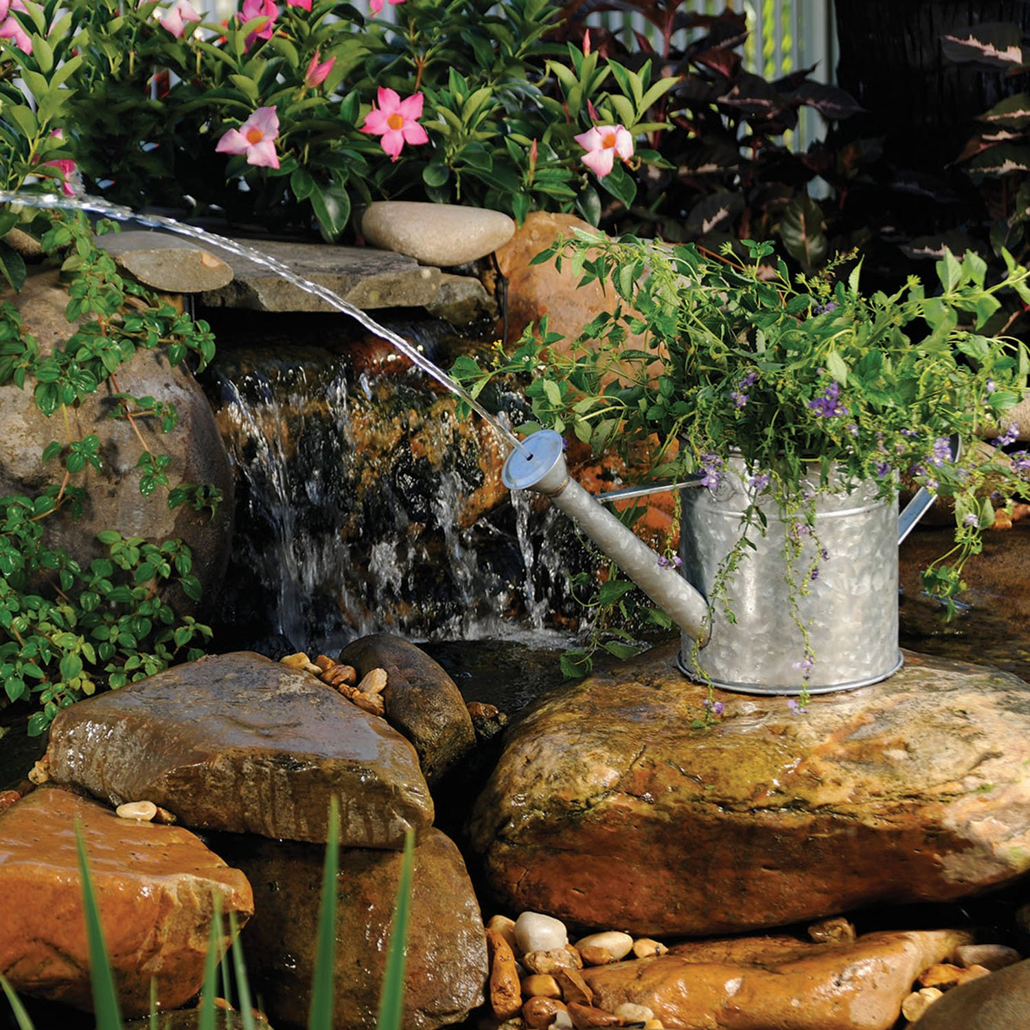 TRUE VALUE Water Can Pond Spitter, Silver
