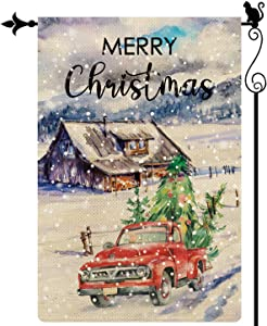 Gormcore Merry Christmas Garden Flag Red Truck & Xmas Tree Garden Flag Snowflake Vertical Double Sided Rustic Farmland Burlap Yard Lawn Outdoor Decor 12.5x18