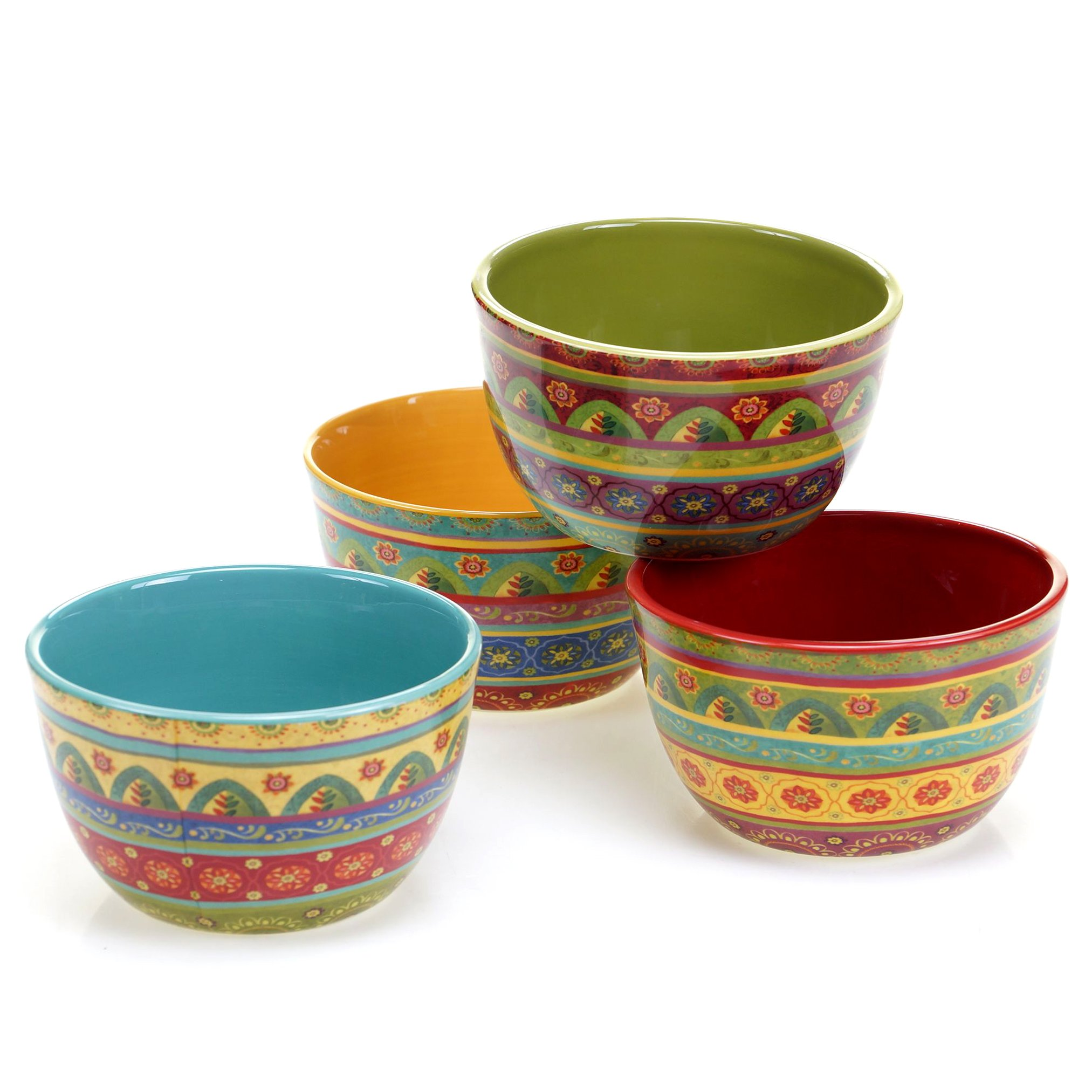 Certified International 22453SET/4 Tunisian Sunset Ice Cream Bowls (Set of 4), 5.25'', Multicolor