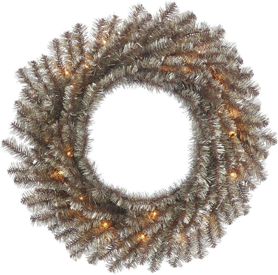 Vickerman B153325 Tinsel Wreath with 35 Lights /& 130Tips Clear//Mocha 24