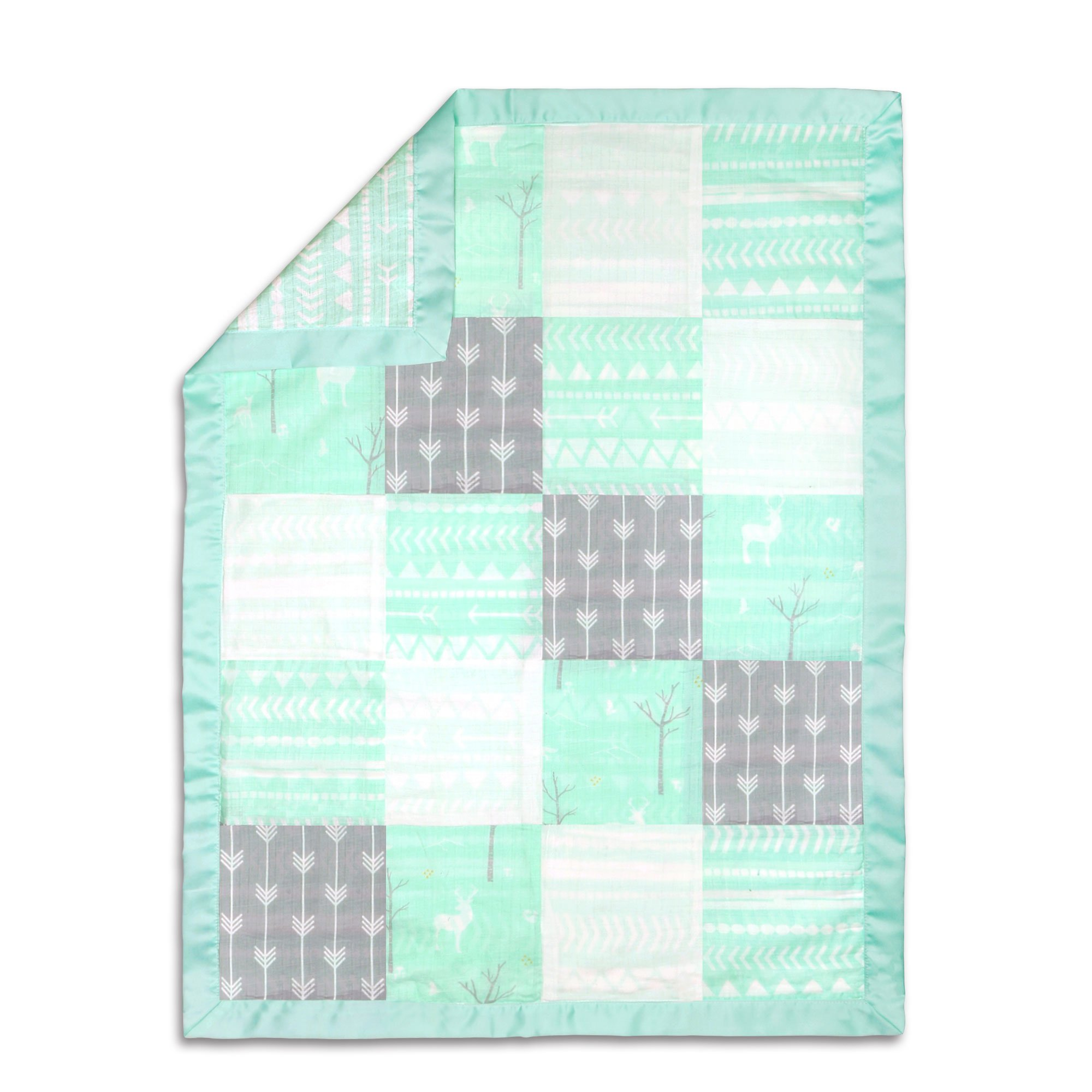 The Peanutshell Mix & Match Mint Muslin Patch Blanket