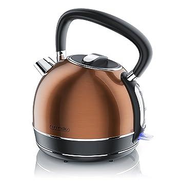 Arendo - Hervidor de agua Eléctrico de acero inoxidable de estilo retro vintage/Tetera |
