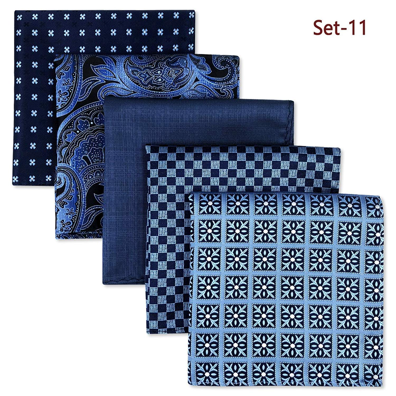 Shlax/&Wing 5 Pieces Assorted Mens Pocket Square Handkerchiefs Set Lot