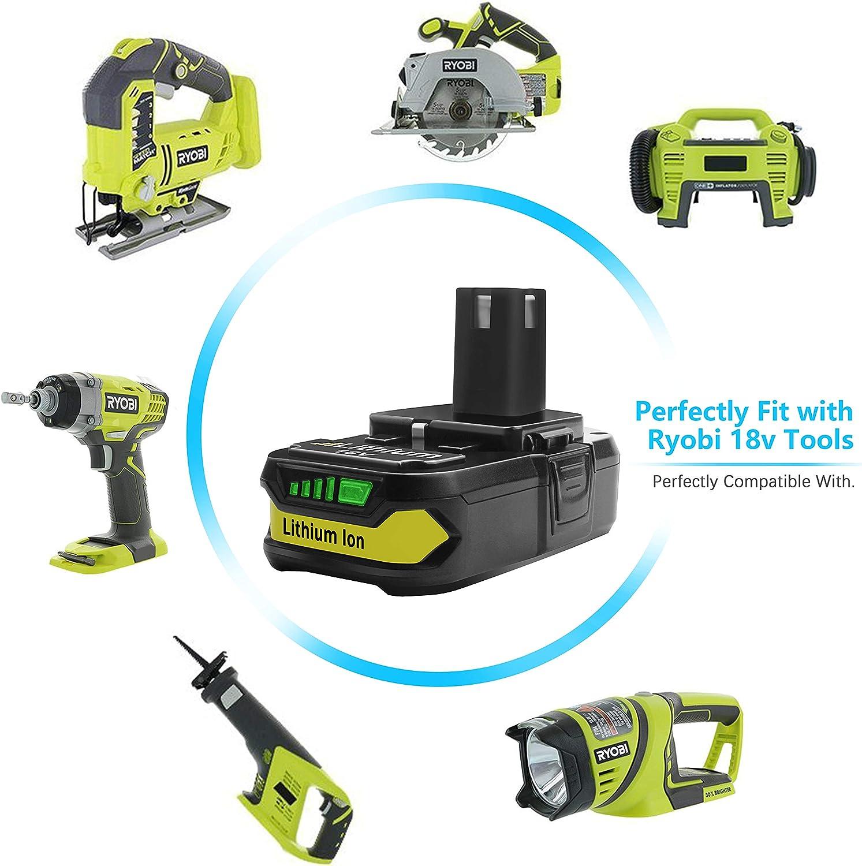 Turpow Batterie de rechange 1 pièce Ryobi 18 V Batterie 2,5 Ah pour P107 Batterie