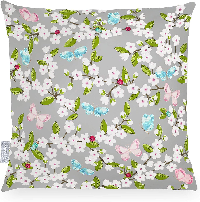fleur de cerisier gris Dimensions 43 x 43 cm Celina Digby/® Coussin de jardin imperm/éable en fibre creuse Carr/é