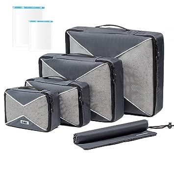 Organizador de Maleta, 4 Sets Cubos de Embalaje, Organizador Viajero de Malla con Bolsa de Lavandería/Zapatos y 2 Bolsas de Compresión Ahorradoras de ...