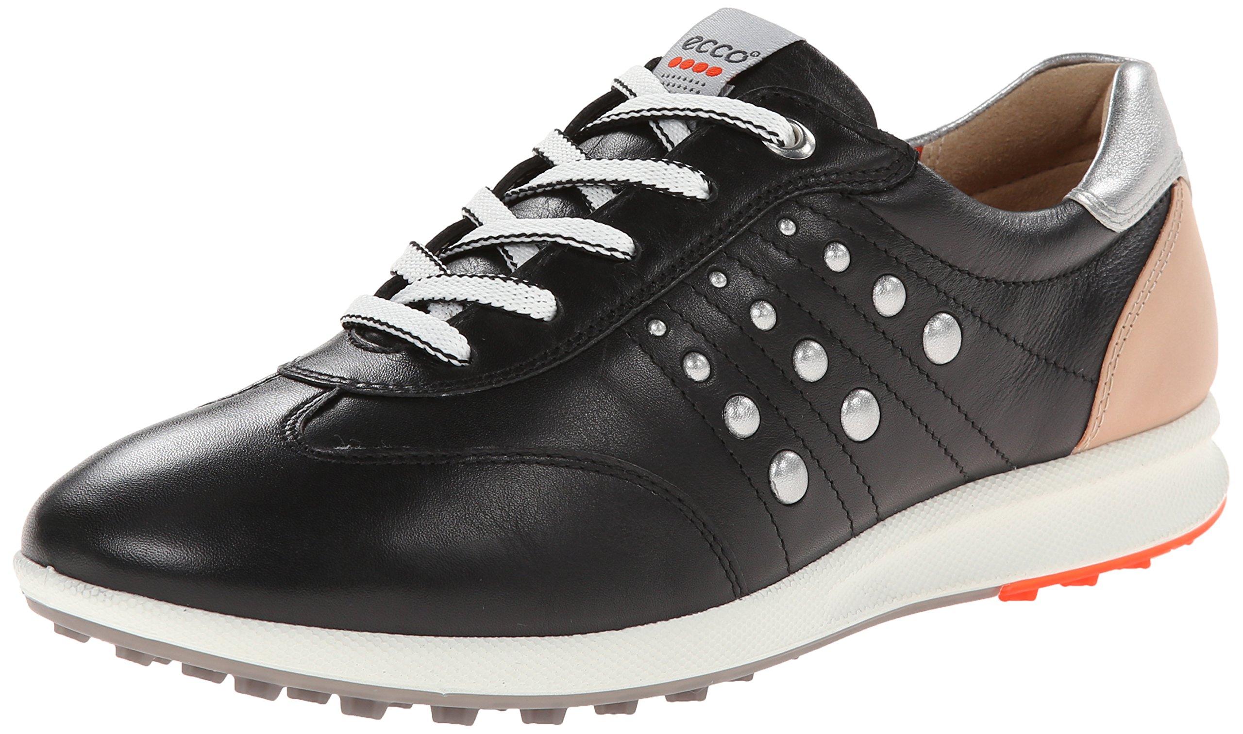 ECCO Women's Street EVO One Luxe Golf Shoe,Black/Fire,39 EU/8-8.5 M US