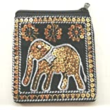Black & Gold elephant coin purse with sequin decoration