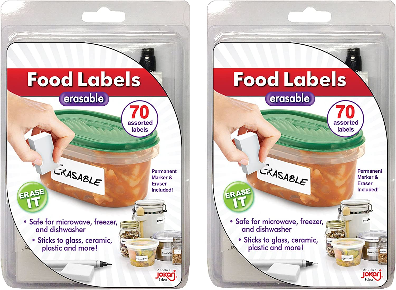 Erasable Food Labels 2-Pack Starter Kits With Pen & Erasers, Reusable Label Multi-Color, Freezer, Microwave & Dishwasher Safe Kitchen Tool for All-Purpose Meal Organization by Jokari