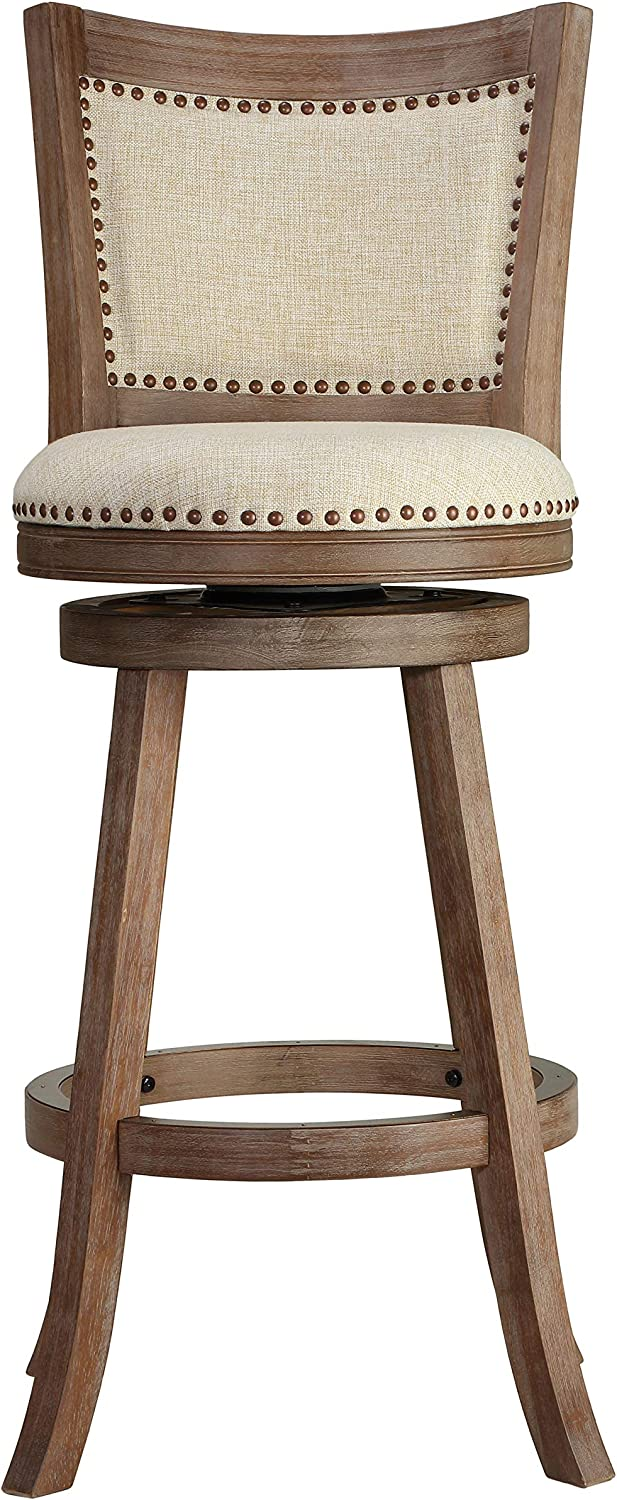 "Cortesi Home Padded Back Marko Bar Stool Beige Fabric Swivel Seat, 30"", Driftwood"