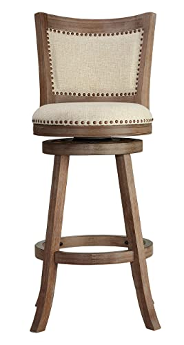 Cortesi Home Padded Back Marko Bar Stool Beige Fabric Swivel Seat, 30 , Driftwood