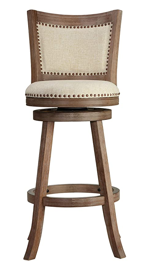 Remarkable Cortesi Home Padded Back Marko Bar Stool Beige Fabric Swivel Seat 30 Driftwood Andrewgaddart Wooden Chair Designs For Living Room Andrewgaddartcom