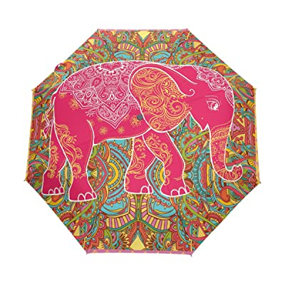 WOZO Ethnic Elephant Floral 3 Folds Auto Open Close Umbrella