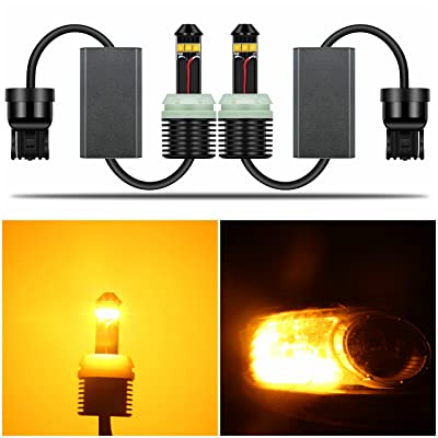 Alla Lighting Directly Plug & Play T20 7440 CANBUS LED Signal Light 1300 Lumens Error Free 21W Extremely Super Bright Amber Yellow 12V W21W 7441 WY21W LED Bulbs for Car Turn Signal Blinker Light: Automotive