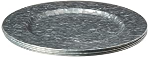 "Circleware 92979 Set of 4-13"", Steel Silver Charger Plates Dinnerware Dishes, Classic Round All Occasion, Limited Edition Home & Kitchen Food Service Decor, 4-pack, Galvanized"