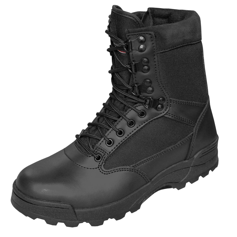 BranditSWAT Tactical Security Boot - Botas Militar Hombre 47 EU Gris - Schwarz mit Zipper