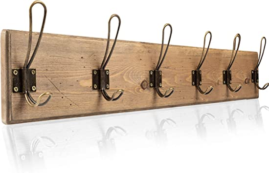 Wall Mounted Coat Rack Rustic Wooden 6 Hook Coat Hanger Rail Distressed Wood Antique Brass Hooks Office Products