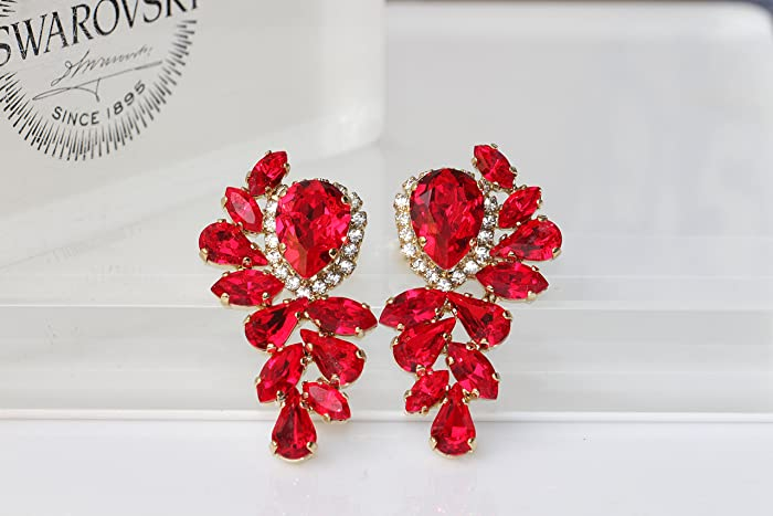 060b6493a Amazon.com: RED CLUSTER EARRINGS, Unique Earrings, Swarovski Ruby, Gift For  Wife, Gold Red Earrings, Large Stud Earrings, Red Woman Earrings: Handmade