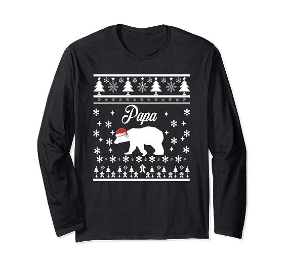 85b4ef19cf Amazon.com  Papa Bear Christmas Shirt for Dad Father Polar Bear  Clothing