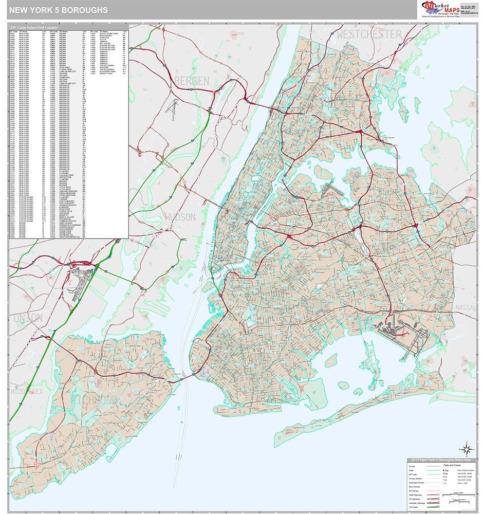 Amazon Com New York 5 Boroughs Ny City Wall Map Premium Style