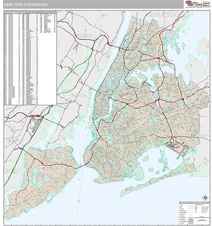 New York Map Boroughs.Amazon Com New York 5 Boroughs Ny City Wall Map Premium Style
