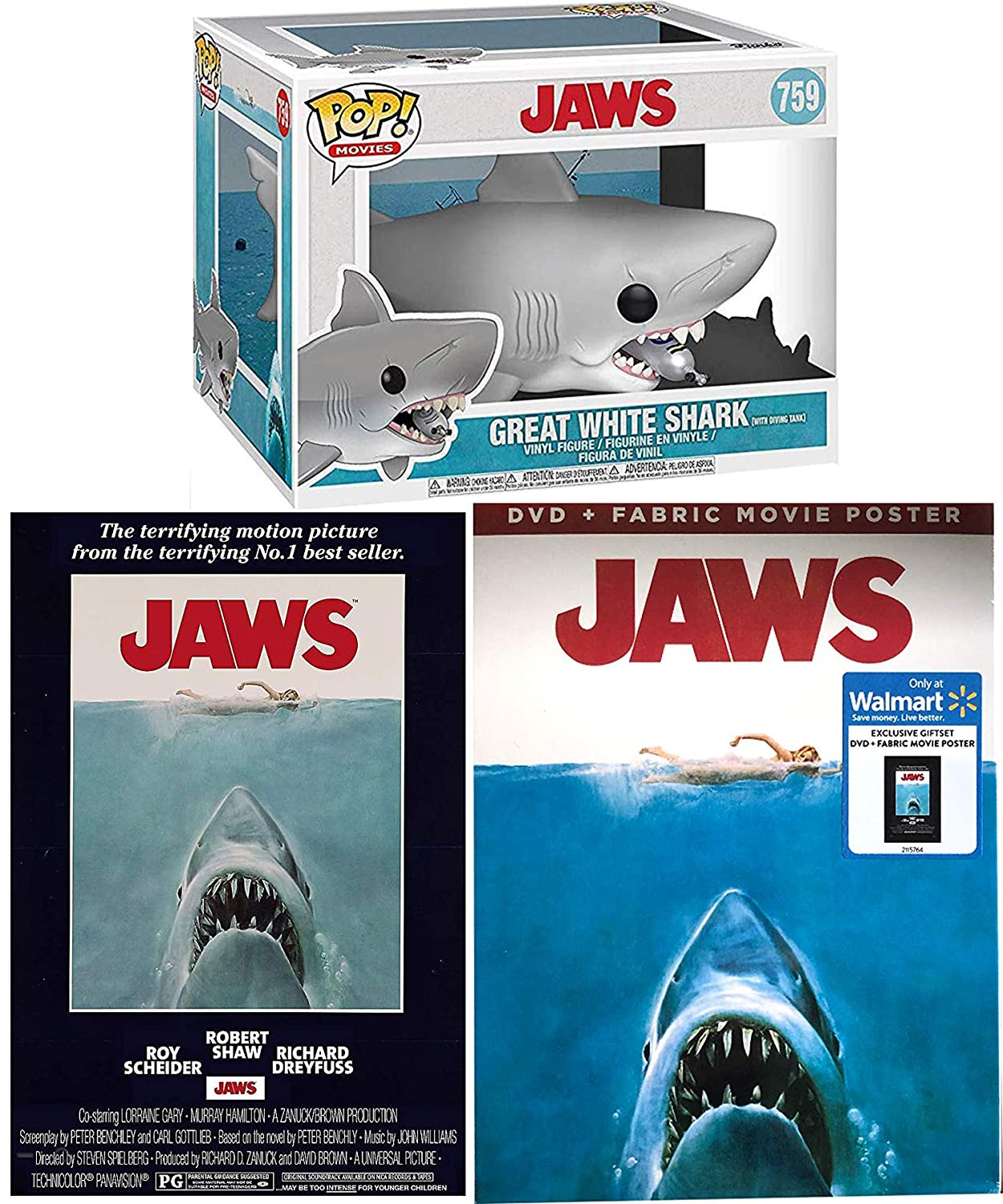 Great Big Shark Attack Jaws The Movie DVD & Bonus Making Of Documentary + Original Poster Art & Pop! Figure Great White with Diving Tank Exclusive Giftset Remastered Edition