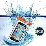 [IPX8 Certificado] iVoler Funda Bolsa Móvil Impermeable Universal 6 Pulgadas Para iPhone 7, 7 Plus,6 / 6s Plus, SE 5S 5C, Samsung Galaxy S7/S7 Edge/S6/S6 Edge/Edge+, etc (Naranja)