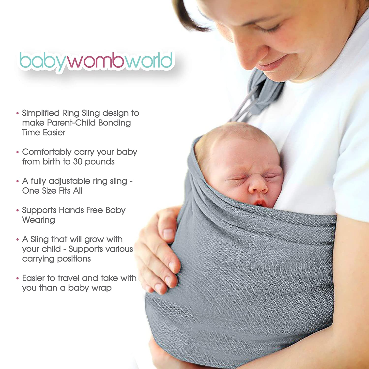 0628d3c1676 Amazon.com   Baby Wrap Carrier Ring Sling  Extra Comfortable Slings and  Wraps for Easy Wearing and Carrying of Babies
