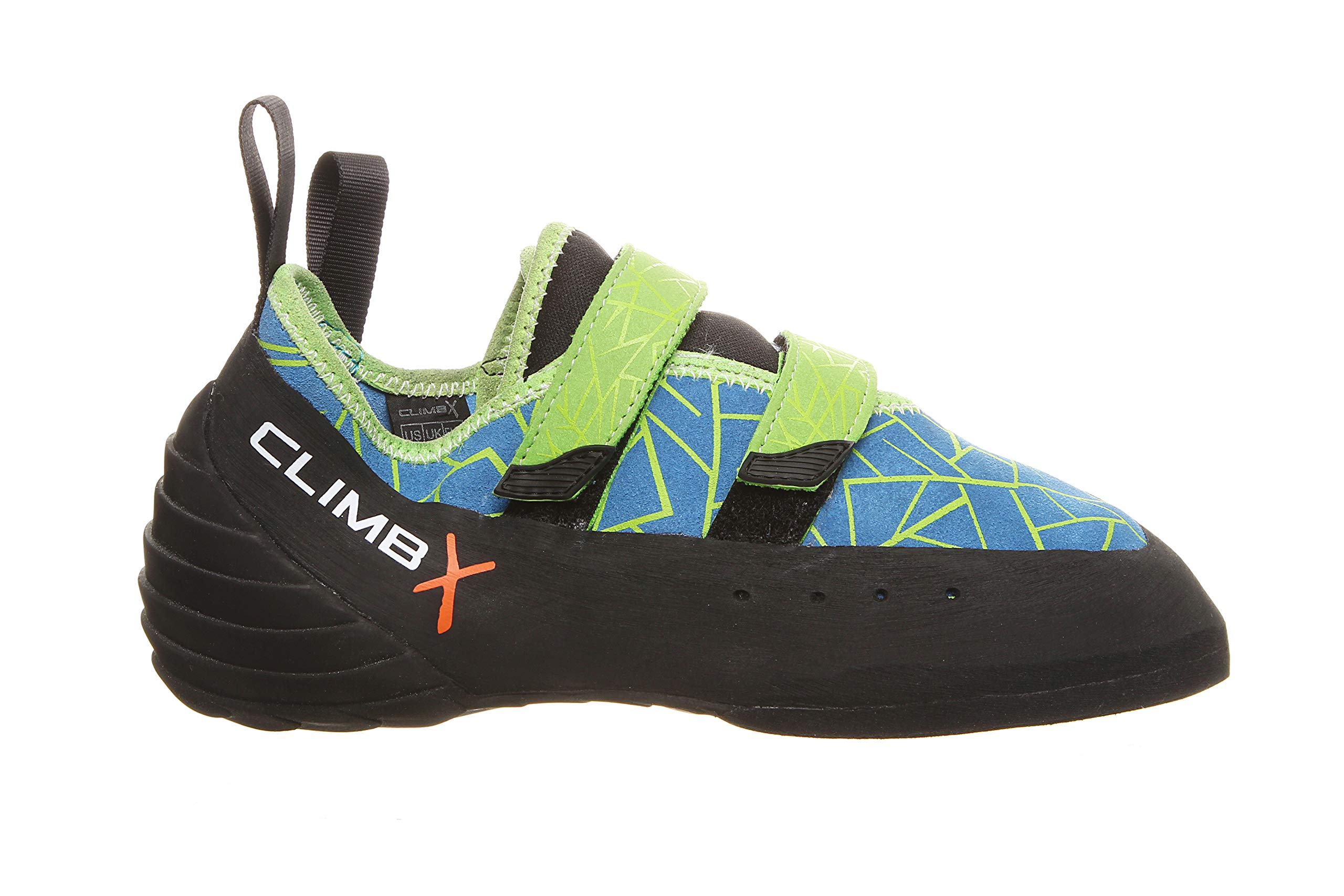 Climb X Redpoint Strap NLV Men's/Women's Climbing Shoe with Sickle M-16 Climbing Brush (8.5, Ocean/Lime) by Climb X