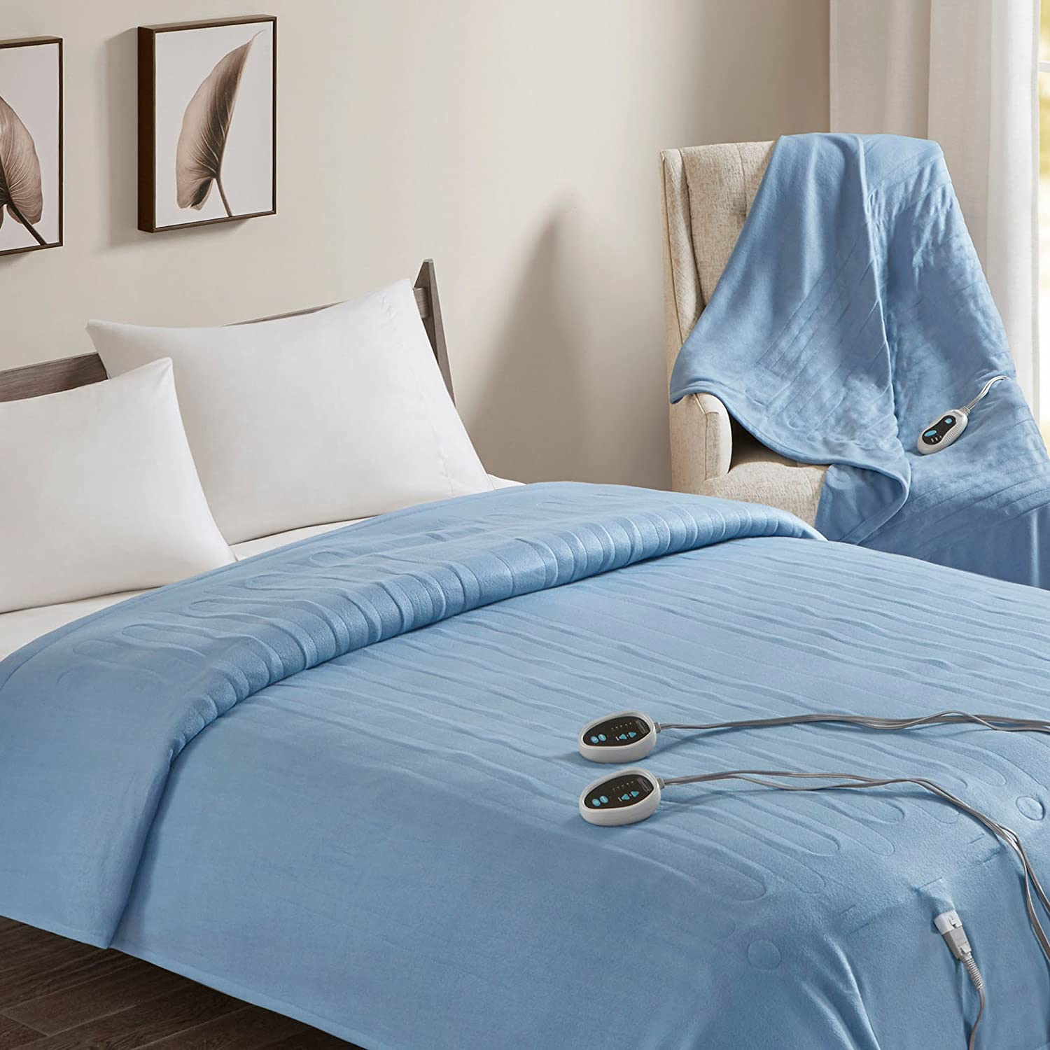 Beautyrest Fleece 2 Piece Electric Blanket Combo Ultra Warm and Soft Heated Throws Bedding Set with Auto Shutoff, Queen, Blue
