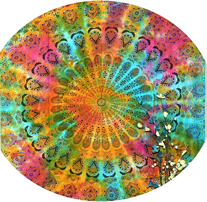 Indian Round Mandala Beach Throw Hippie Tapestry Meditation Yoga Mat Roundie