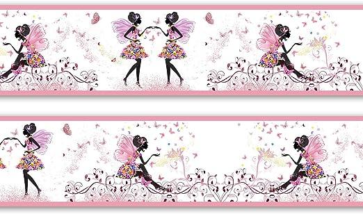 Kinderzimmer Wandbord/üre Gr/ö/ße: 560cm x 15cm Borte Tapetenbord/üre Bord/üre M/ädchen Schmetterlingselfe selbstklebend Vinyl
