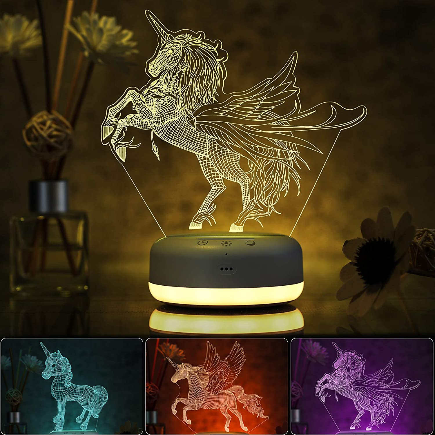 3D Unicorn Night Light for Kids, 3 Patterns and 16 Color Change Night Light, Kids' Room Decor Lamps, Unicorn Toys and Unicorn Gifts for Girls, Boys