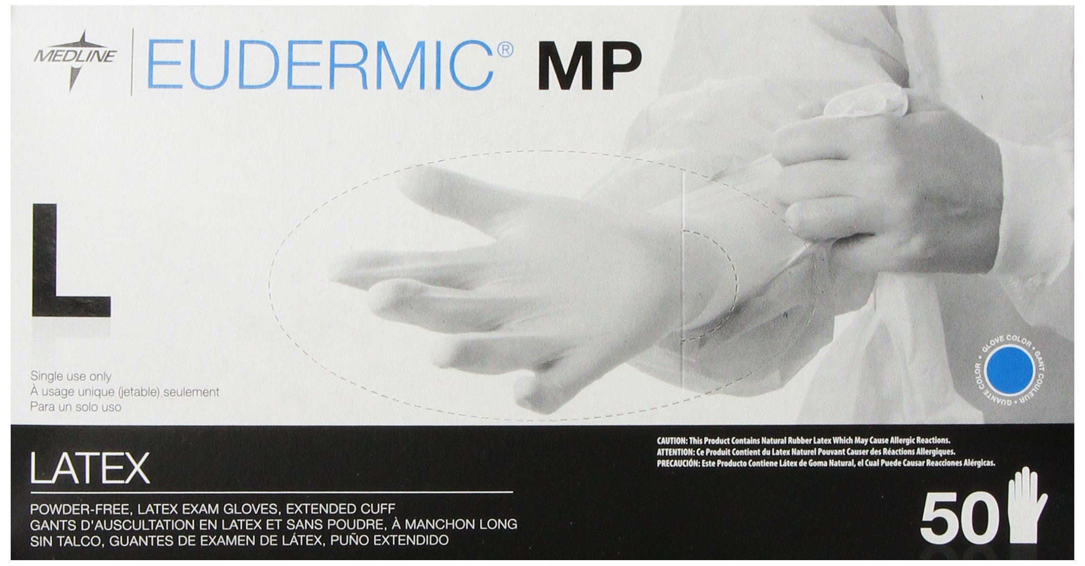 Medline Eudermic MP 12 Inches High Risk Exam Gloves, Large, 50 Count