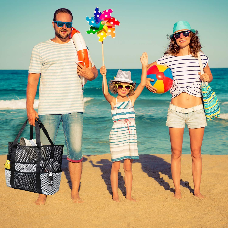 Schwarz//Wei/ß Bertasche Strandtasche XXL Strandtasche Gro/ß Familie f/ür Baden Shopper Urlaub Reise Picknick
