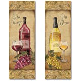 2 Tuscan White and Red Wine Bottle Panel Set; Two 6x18in UNFRAMED Paper Poster Set