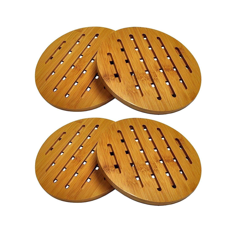 Bamboo Trivet Mat Set, Bamboo Hot Pot Holder Pads, Non-Slip Hot Pot Holder (2, Round) Deals4you